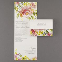 Watercolor roses are touched with gold foil for shine and romance on this white shimmer seal 'n send wedding invitation.