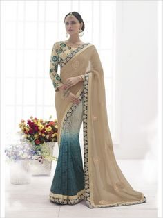 Beige/Blue Party Wear Chiffon/Super Net Saree