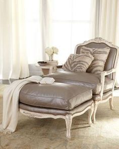 Shop Silver Leather Bergere Chair & Ottoman from Old Hickory Tannery at Horchow, where you'll find new lower shipping on hundreds of home furnishings and gifts. Old Hickory Tannery, Bergere Chair, Leather Ottoman, Leather Lounge, Leather Fabric, Chair And Ottoman, Desk Chair, Big Chair, Upholstered Ottoman
