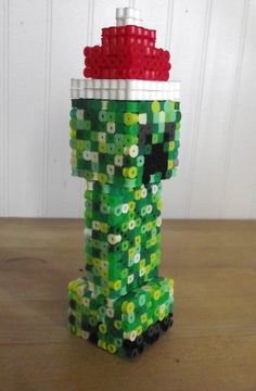 3D Christmas Minecraft Creeper perler beads by by Soggy_Enderman