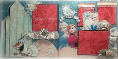 Disney Frozen 12x12 Premade Scrapbook Pages Paper Piecing Layout Olaf Princesses   eBay for sale $19.99