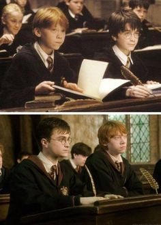 Harry Potter and Ron Weasley. This makes me a wee bit sad Harry Potter Gif, Harry Potter World, Harry Potter Universe, Images Harry Potter, Mundo Harry Potter, Harry Potter Wallpaper, Ron Weasley, Hermione Granger, Hogwarts