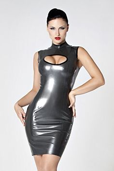 c2dfe74d2d6 Amazon.com  Collective Chaos Latex Keyhole Dress Pewter Black  Adult Exotic  Apparel  Clothing