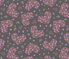 [Pajama Pants] Floral Valentine fabric by alissecatherine on Spoonflower - custom fabric