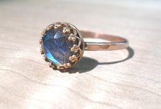 Labradorite Ring Rose gold labradorite ring by AWildViolet on Etsy