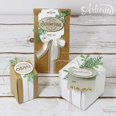 Gift boxes, bags and tags featuring the Here's to Cheers Bundle from Stampin' Up! by Marisa Gunn (Packing Bottle Gift) Christmas Gift Box, Stampin Up Christmas, Christmas Crafts, Christmas 2019, Handmade Christmas, Christmas Ideas, Paper Cards, Diy Cards, Xmas Cards