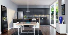 Sala de jantar integrada à cozinha, decoração contemporânea com linhas simples.