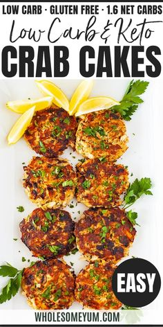 Gluten-Free Keto Crab Cakes Recipe - This keto crab cakes recipe needs just 10 simple ingredients + 30 minutes! Paleo gluten-free crab cakes are full of rich flavor, without breadcrumbs or fillers. It'll be one of your favorite low carb crab recipes. #wholesomeyum #keto #lowcarb #glutenfree #appetizer Healthy Potato Recipes, Crab Recipes, Healthy Dinner Recipes, Keto Recipes, Vegetarian Recipes, Ketogenic Recipes, Chili Recipes, Vegetable Recipes, Soup Recipes