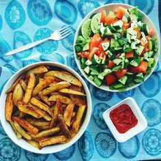 Baked oil/salt free potato and sweet potato  wedges with a big salad  and pure tomato paste for dinner.
