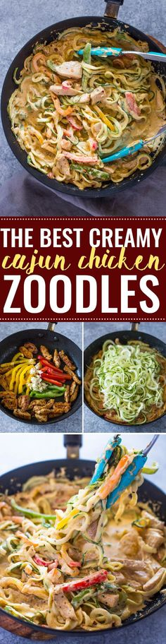 The Best Creamy Cajun Chicken Zoodles Zoodle Recipes, Spiralizer Recipes, Pasta Recipes, Low Carb Recipes, Diet Recipes, Chicken Recipes, Cooking Recipes, Healthy Recipes, Veggetti Recipes