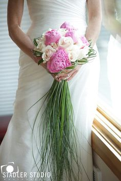 """Contemporary Cascading Bridal Bouquet Arranged With Pink Peonies, White Roses, & A Long """"Cascade"""" Of Green Bear Grass --------- Super Neat Bouquet!"""