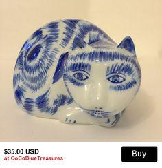 Blue & White Porcelain  Cat Laying  https://www.etsy.com/shop/CoCoBlueTreasures?ref=shopsection_shophome_leftnav