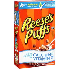 I really wanna try this. where can i find Reese's Peanut Butter Corn Puffs Cereal here in the philippines? Corn Puffs Cereal, Reese's Puffs, Kids Cereal, Chocolate Cereal, School Snacks For Kids, Buttered Corn, Hershey Cocoa, Calcium Vitamins
