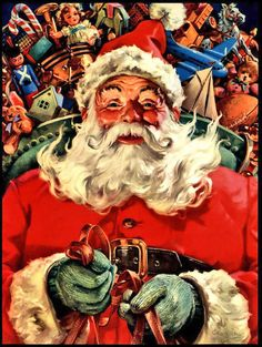 "1951 ""Hurry, Dear Santa"" Santa's sleigh art print by George Hinke"