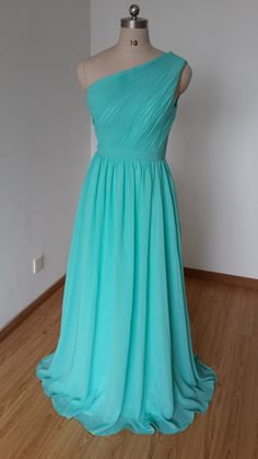 2015 One-shoulder Turquoise Chiffon Long Bridesmaid Dress
