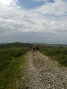 The intrepid walkers head across Cefn Bryn....