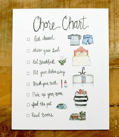We made this adorable illustrated chore chart with non-readers or early readers in mind, and we love the idea of putting it in a fun frame with glass and then letting your little ones use a dry-erase Chores For Kids, Activities For Kids, Crafts For Kids, Bonding Activities, Kids And Parenting, Parenting Hacks, Parenting Styles, Foster Parenting, Organizers