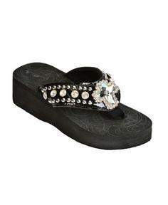 89361833e2c09 Montana West Croc Print Cross Concho Wedge Sandals