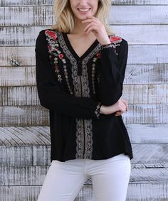 Take a look at this Black Floral Santa Ana Embroidery V-Neck Top - Women today!