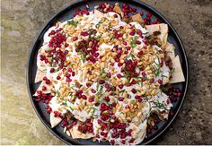 Served nacho-style with crispy pitta chips, Nigella Lawson& Middle Eastern Beef and Aubergine Fatteh, as seen on her BBC series, At My Table, makes a sumptuous dinner. Nigella Lawson, Beef Recipes, Cooking Recipes, Mince Recipes, Recipies, Tapas Recipes, Lebanese Recipes, Healthy Recipes, Healthy Food