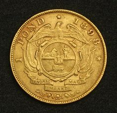 South African  Gold 1898 one Pond Coin Boer Republic Transvaal