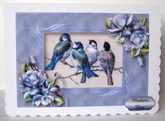 Beautiful Blue Tits Porcelain Roses on Craftsuprint designed by Anne Lever - made by Margaret McCartney - I printed the design onto good quality photographic paper and cut it out. I scored and folded a C5 scalloped edged card landscape. I attached the design to the card using double sided tape. I assembled the decoupage using thin foam tape. I added the greeting using thin foam tape. This is a gorgeous card when completed. - Now available for download!