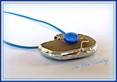 a GREEK ISLANDS SOUVENIR  Pebble pendant off by SueEllenDreamland Jewelry Gifts, Unique Jewelry, Beach Stones, Off White Color, Greek Islands, Soldering, Stone Jewelry, Druzy Ring, Gifts For Her