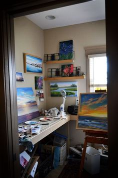 Closet art studio  (it's a beautiful thing when artists make room, no matter how small, to do what they do best)