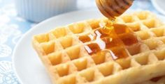 Photo about Pouring honey on Belgian waffles using honey dipper. Image of dipper, belgian, blue - 24406607 Breakfast Waffles, Belgian Waffles, Dipper, Brunch, Meals, Healthy, Food, Student Resume, Resume Templates