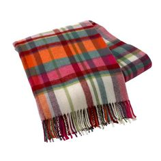 Lambswool Throw in Plaid