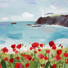 Poppies and Lighthouse by Claire Henley
