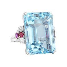 Estate Tiffany & Co. Aquamarine Cocktail Ring with Ruby & Diamond