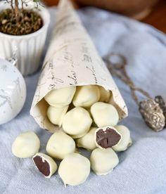 Nougattryffel med vit choklad