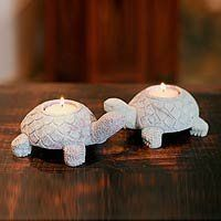 Soapstone candleholders, 'Turtle Twins' by NOVICA. $39.95. Natural stone - some variations in color and/or pattern are to be expected. Handmade by Gulam Rasool. Ships from Bali within 15 days. Candle(s) included. NOVICA, in association with National Geographic, offers thousands of limited edition and one-of-a-kind gifts, jewelry, and home decor treasures handmade by master artists and artisans throughout the world. Cheerful terrapins carry tea lights in their shells as they walk...