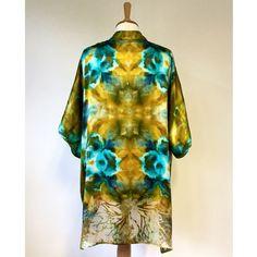 A Meiji Designs Hand Dyed silk blend Kimona-kimono with devoré detail