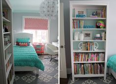 "Ceiling color, back of cubbies and bookshelves - Benjamin Moore ""Light Touch"" Wall Color - Benjamin Moore ""Whitestone""  Bedding - PB Teen Rug - West Elm Letters - PB Teen Roman blinds - Tonic Living Bench cushion - Tonic Living Bulletin board - PB Teen Desk, tall bookcase and pendant light - Ikea"
