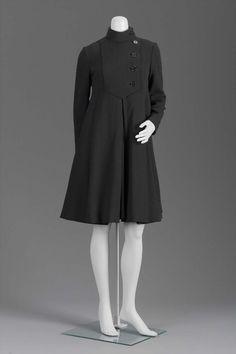 Geoffrey Beene Coat Dress - American 1960-69. Black wool crepe