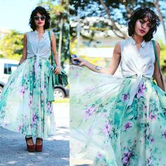 Floral maxi skirt. Fun look with the casual knotted top, or dress it up.