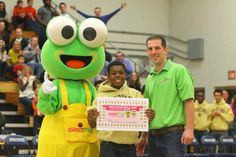 A lucky Milton Hershey student won free yogurt for a year in a halftime contest!