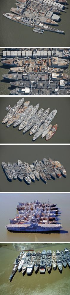 This is the ghost fleet of mothballed ships in Suisun Bay off San Diego, California. Some of the ships have been anchored here since the 1950s and include a battleship and an amphibious landing ship. Many, if most, of the ships will never be re-activated but are too expensive to break up. Some will become museum ships, such as the battleship USS Iowa, and some will be sold other countries to become part of their navies. Some will simply sink to the bottom of the bay.