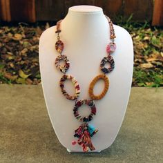Near & Far - Handpicked Handicrafts From Around The World Recycled Jewelry - Handcrafted Jewelry Fabric Necklace - Oval Ring