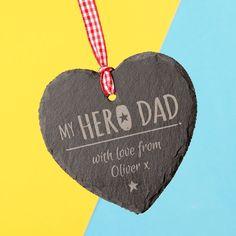 Engraved Heart-Shaped Slate Hanging Keepsake - My Hero Dad   GettingPersonal.co.uk