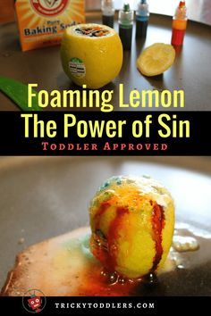 Easy Lemon Volcano Experiment - Colorful, Toddler-friendly Bible Story Object Lesson for Adam and Eve - Sunday School Lessons Crafts Games + - Kids Church Lessons, Youth Lessons, Bible Lessons For Kids, Preschool Bible Lessons, Young Women Lessons, Primary Lessons, Sunday School Activities, Church Activities, Sunday School Crafts