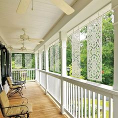 Decorative screen panels are a perfect interior or exterior home accent that can enhance a room, deck, patio or garden area. decorative screen panels are Front Porch Seating, Small Front Porches, Farmhouse Front Porches, Small Patio, Country Porches, Southern Porches, Back Porch Designs, Screened Porch Designs, Screened In Porch