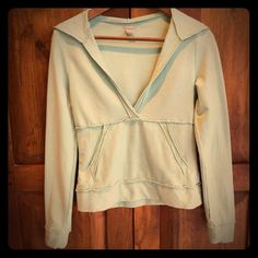 Free People hoodie Sea foam green soft hoodie with kangaroo pocket. Cotton spandex blend gives this hoodie some stretchiness. Free People Tops Sweatshirts & Hoodies