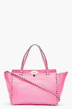 VALENTINO Fuchsia Leather Rockstud Medium Trapeze Tote~~ omg I love this baby pink !!!