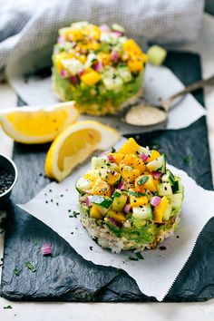 Tuna Sushi Stacks by chelseasmessyapron: Made with canned tuna, this is easy, kid-friendly, healthy, delicious! #Tuna #Rice #Cucumber #Mango #Healthy
