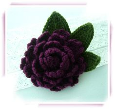Hand Crochet Corsage Brooch Purple Peony Rose by CraftsbySigita on Etsy
