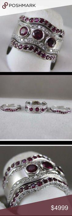 Spotted while shopping on Poshmark: ❤️WOW! Platinum Ruby Diamond 3 Ring Eternity Set! #poshmark #fashion #shopping #style #Jewelry
