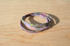 Bracelet femme cuir motif vitrail 5 mm - 3 tours – multicolore – fermoir magnétique : Bracelet par boisdesoluthe